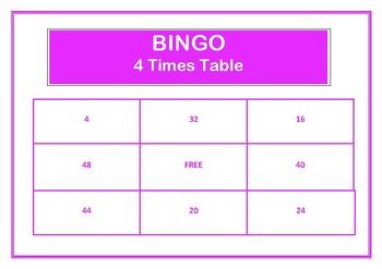 Bingo 4 times table game