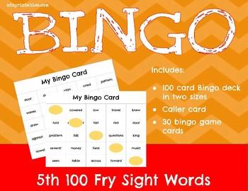 Bingo! 5th 100 Fry Sight Words