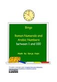 Bingo 5 x 5 Roman Numerals - numbers 1 - 100