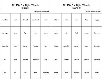 Bingo! 6th 100 Fry Sight Words