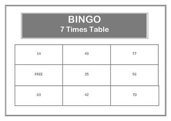 Bingo 7 Times Table Game