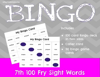 Bingo! 7th 100 Fry Sight Words