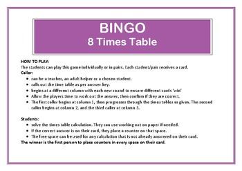 Bingo 8 Times Table Game
