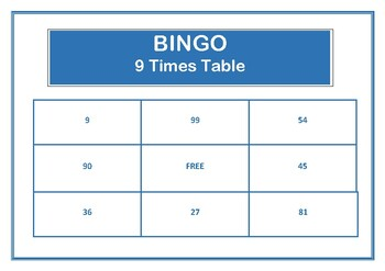 Bingo 9 Times Table Game