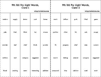 Bingo! 9th 100 Fry Sight Words