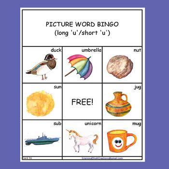 Long and Short Vowels in Bingo Match Up Game K - 1