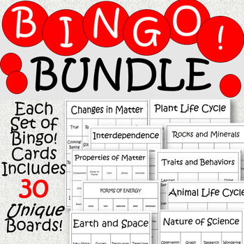 Bingo! ALL YEAR BUNDLE- Science Vocabulary Review Game
