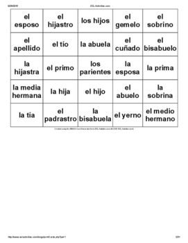 Bingo Activity that corresponds with Descubre 1 Chapter 3- Family Vocabulary