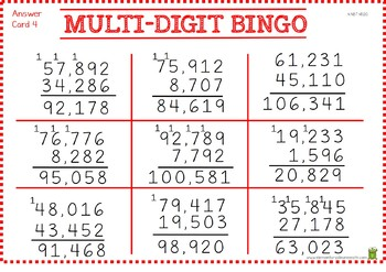 Bingo - Adding Multi-Digit Numbers