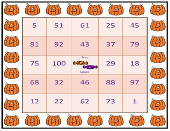 Bingo - Pumpkin - Addition/Subtraction Double Digit to 100