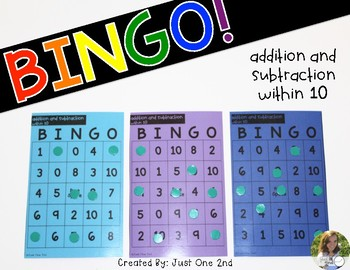 Bingo: Addition and Subtraction within 10