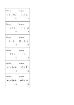 Bingo Algebra 1 - Integers