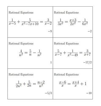 Bingo Algebra - Rationals