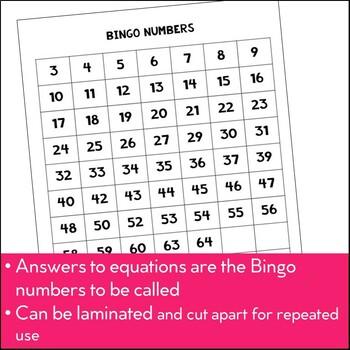 Bingo: Algebraic Equations Activity