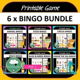 Bingo BUNDLE - 5 x Cute Bingo Games for Preschool & K-2 kids Animals Space Sea