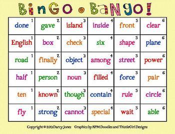 Bingo-Bango! Sight Word Fluency 5
