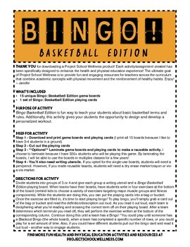 Bingo: Basketball Edition (PE, Health, Basketball Lesson Plan)