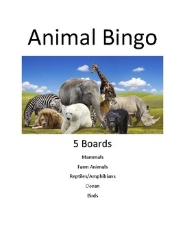 Bingo Board - Animal sight word review - 4 boards color coded - with words