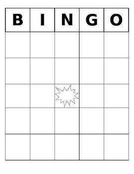 Bingo Board- Blank and Editable