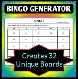Bingo Board Generator - Creates 32 Unique Game Boards - Customizable!