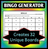 Bingo Board Generator - Creates 32 Unique Game Boards - Cu