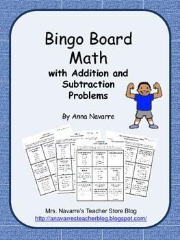 Bingo Board Math w/Addition and Subtraction