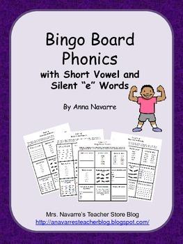 "Bingo Board Phonics w/Short Vowels and Silent ""e"""