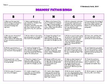 Bingo Board Reader Response Grades 6-8