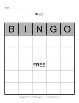 Bingo Board Template 5x5 By Savetz Publishing Teachers Pay Teachers