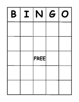 Bingo Board Template Pdf By J Gibb Teachers Pay Teachers