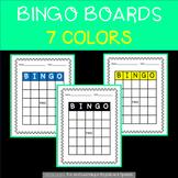 Bingo Boards - Blank - 7 different colors