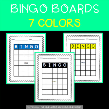 Bingo Boards - Blank - 7 different colors