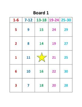 Bingo Boards - Numbers 1 - 30