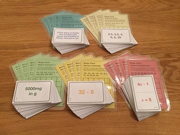 Bingo Bundle 1 | 5 Games for Basic Math - Algebra, Time, Measurement, etc.