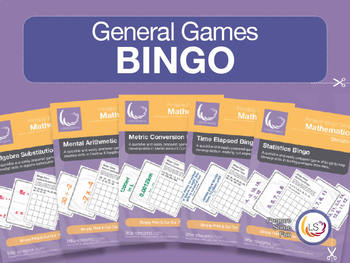 Bingo Bundle 1 | 5 Games for Basic Math - Algebra, Time, M