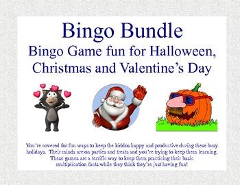Bingo Bundle- Mutiplication Fun for Halloween,Christmas an