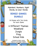 Bingo Bundle-Games for the Alphabet, Numbers, Sight Words & Color Words-4 Themes