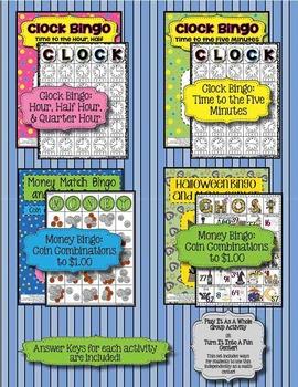 Bingo Bundle! {Money Bingo, Time Bingo (2 versions), + Halloween Bingo}