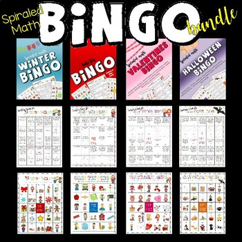 Bingo Bundle! (FOUR Spiraled Math Bingo Games Included)