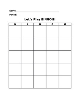 Bingo Card - Reward System