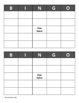 Bingo Cards (2 per sheet)