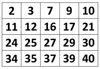 Bingo Cards Numbers 1 40 35 Pack 1312982 on Worksheets For Social Science Grade 5