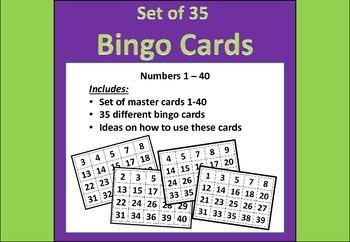 Bingo Cards Numbers 1-40 (35 pack)