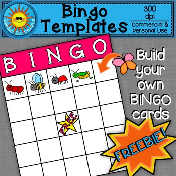 Bingo Cards Template Clip Art FREEBIE!