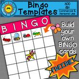 Bingo Cards Template Clip Art FREEBIE!