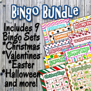 Bingo Cards and Memory Game Bundle - Printable - Includes 9 Sets