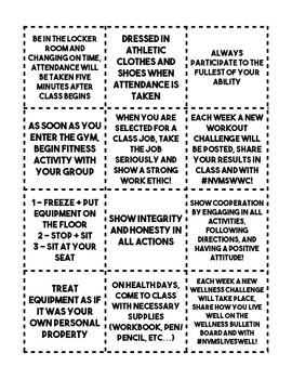 Bingo: Class Expectations and Rules (Back-to-school, Middle School PE)