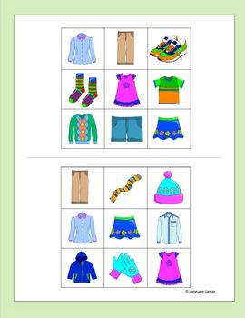 CLothing Bingo for EFL ESL EAL MFL
