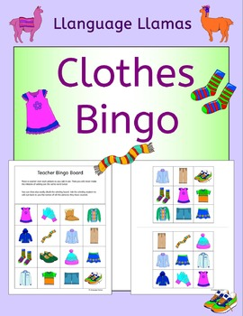 CLothing Bingo for EFL ESL EAL MFL