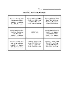 Bingo: Constructing Triangles